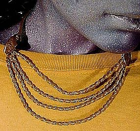 Gilt Brass VICTORIAN REVIVAL MESH & ROPE NECKLACE c1930