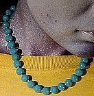VOGUE GLASS TURQUOISE BEAD NECKLACE