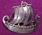 JUST ANDERSEN STERLING Silver Viking SHIP BROOCH