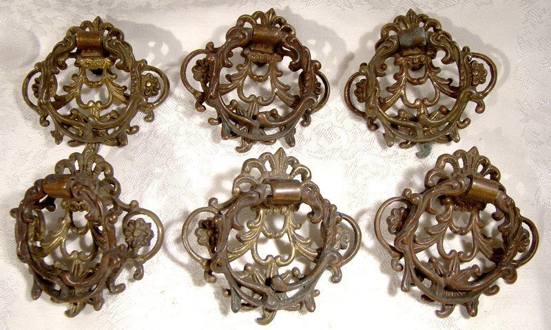 Set of 6 CAST GILT BRASS DRAWER PULLS 1900