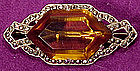 Art Deco STERLING MARCASITE AMBER CRYSTAL BROOCH