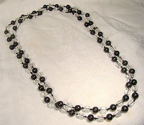 Art Deco MOLDED GLASS & BLACK BEAD FLAPPER NECKLACE