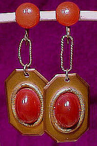 Cool Deco 1920s GILT BRASS CARNELIAN DANGLE EARRINGS