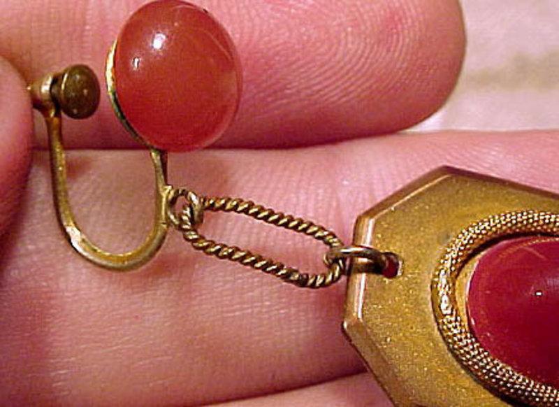 Art Deco 1920s GILT BRASS CARNELIAN GLASS DANGLE EARRINGS