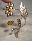 GILT STERLING CRYSTAL LARGE COAT PIN c1930s