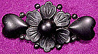 Czech BLACK SATIN GLASS BROOCH c1920s