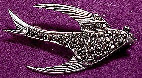 Elegant FLYING SWALLOW STERLING MARCASITE BROOCH c1930s