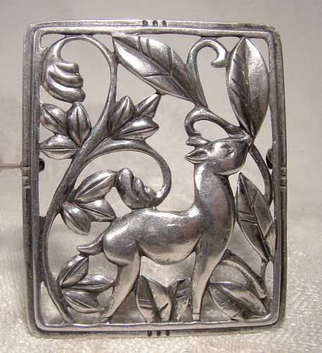 Deco DEER IN THE WOODS STERLING PIN c1930s-40 Danecraft