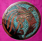 MAYAN HEAD INLAID TURQUOISE MEXICAN SILVER BROOCH