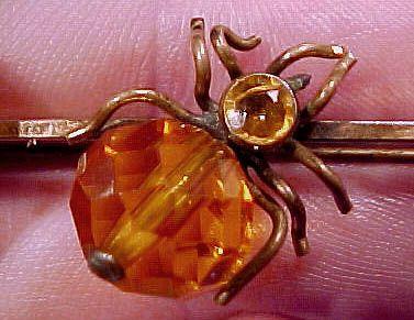 Victorian RGP CRYSTAL SPIDER BROOCH TIE PIN 1880s