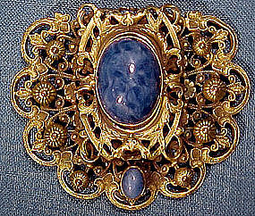 Ornate CZECH GP FILIGREE & BLUE GLASS DRESS CLIP c1910