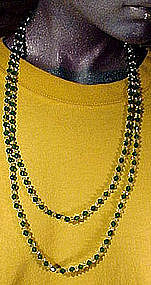 Art Deco GREEN & CRYSTAL GLASS FLAPPER NECKLACE c1920s