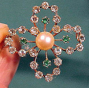 Edwardian 9K PEARL & PASTE BROOCH 1900 1910 Green Clear Stones