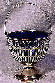 Webster STERLING SUGAR BASKET with COBALT LINER c1900