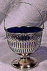 Webster STERLING SUGAR BASKET with COBALT LINER c1900