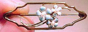 Edwardian 14K ENAMEL SEED PEARL FLOWER PIN c1910