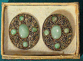 Pair CHINESE JADE GILT SILVER WIREWORK EARRINGS 1920s-30s