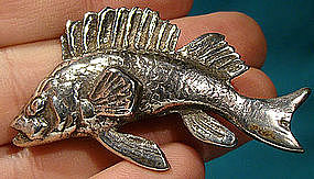 Heavy and Wild Sterling FISH PIN c1920s