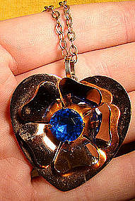 CORO CRAFT GILT STERLING HEART PENDANT NECKLACE c1940s