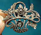 Signed PERUZZI ITALY STERLING BASKET OF FLOWERS PIN