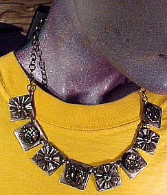 Cool 1930s SP FOILED GLASS NECKLACE