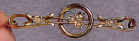 EDWARDIAN 14K SEED PEARL BROOCH PIN 1900-1910