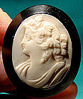 Mid-Victorian PINK CORAL & JET CAMEO BROOCH 1860s