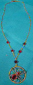 ART DECO Gold Filled SPIDER RED CRYSTAL NECKLACE 1930