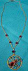 ART DECO Gold Filled SPIDER RED CRYSTAL NECKLACE 1930
