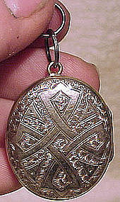 Ornate ENGRAVED METAL PHOTO LOCKET c1870s-80s