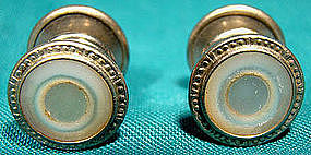 MOTHER OF PEARL RHODIUM PLATE SNAP CUFFLINKS c1920