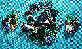 BLUE GREEN RHINESTONES BROOCH & EARRINGS SET 1950s