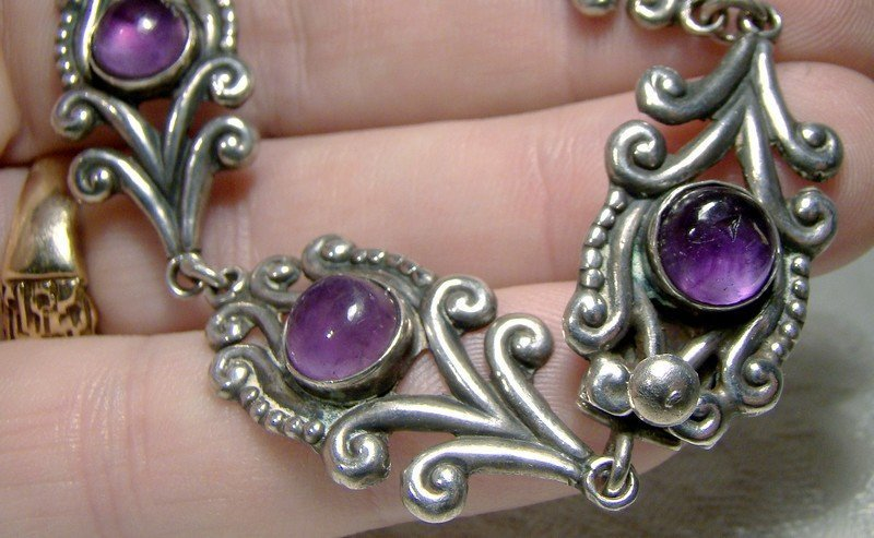 STERLING Silver AMETHYST Cabochons BRACELET 1930s 1940 Mexico