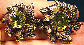 HOBE STERLING PERIDOT CRYSTAL STONE EARRINGS 1940s