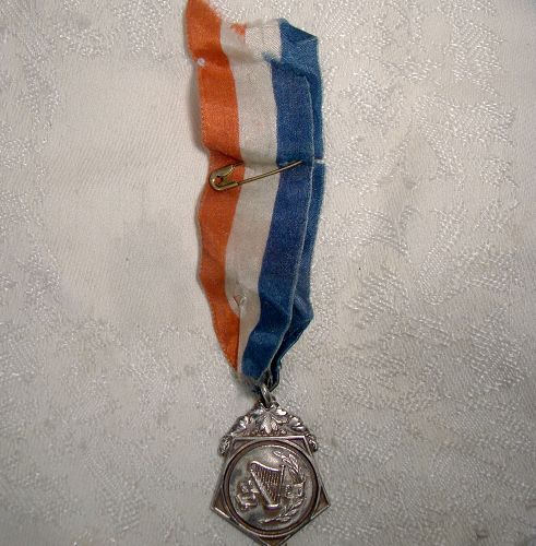 EYMC STERLING SILVERMUSIC AWARD FOB 1927 with RIBBON