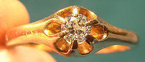 Edwardian 14K FLOWER STYLE DIAMOND RING 1900 1910