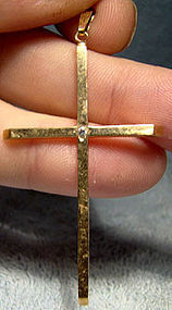 Large Vintage 10K CROSS with DIAMOND