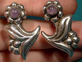 MEXICAN STERLING AMETHYST EARRINGS c1930s