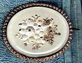 Large ESSEX CRYSTAL HP FLORAL RGP PIN c1850s-60s