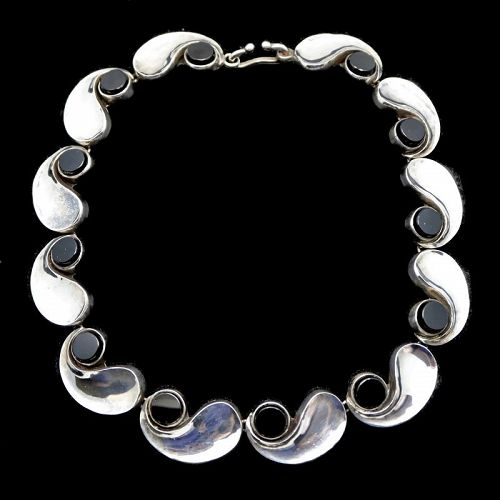 Antonio Pineda Onyx Comma Silver Taxco Mexican Necklace