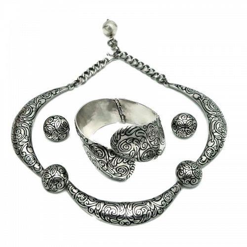Margot de Taxco 5543 Swirls Enamel Mexican Sterling Silver Parure