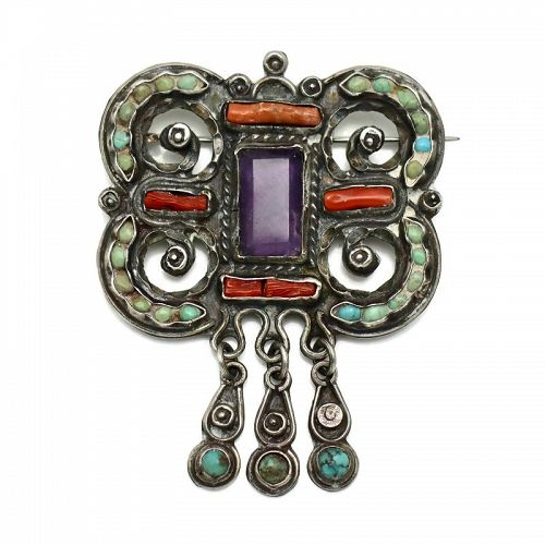 Matl Matilde Poulat Jeweled Mexican Sterling Silver Pin Eagle 129