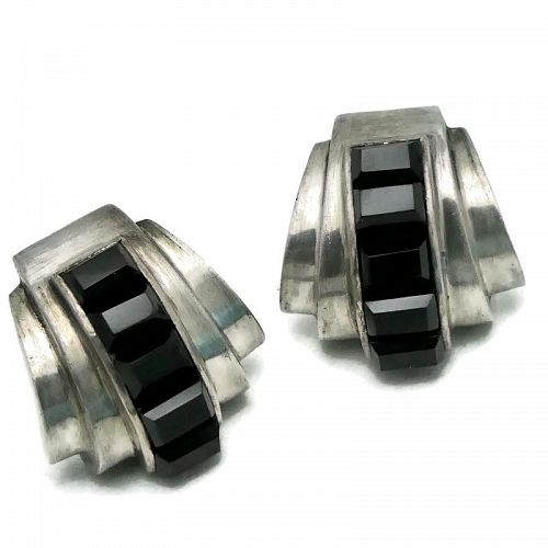 Antonio Pineda Taxco Onyx Deco Silver Mexican Earrings