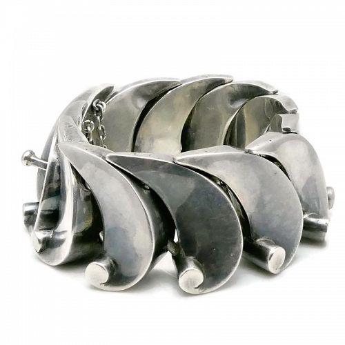 Antonio Pineda 970 Silver Taxco Mexican Wave Bracelet