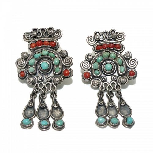 JGD Mexico City Coral Turquoise Sterling Silver Earrings