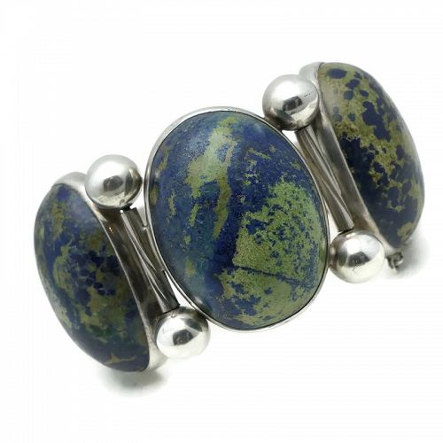 Hector Aguilar Azurite 940 Silver Taxco Mexican Bracelet