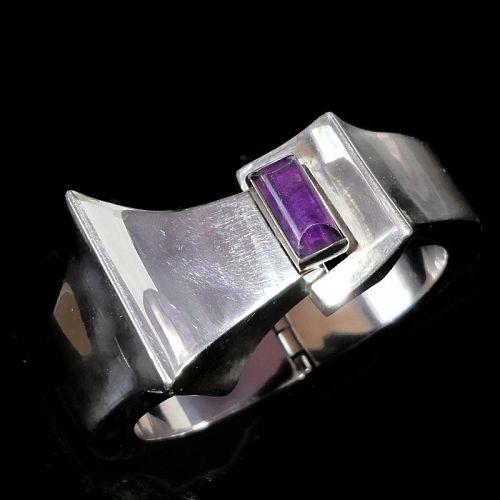 Antonio Pineda Amethyst 970 Silver Taxco Mexican Modernist Bracelet