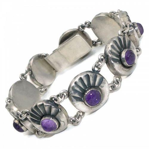 Fred Davis Amethyst Sterling Silver Taxco Mexican Bracelet