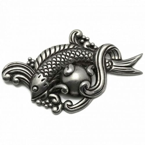 Los Castillo Fish in Waves Taxco Mexican Repoussé Sterling Silver Pin