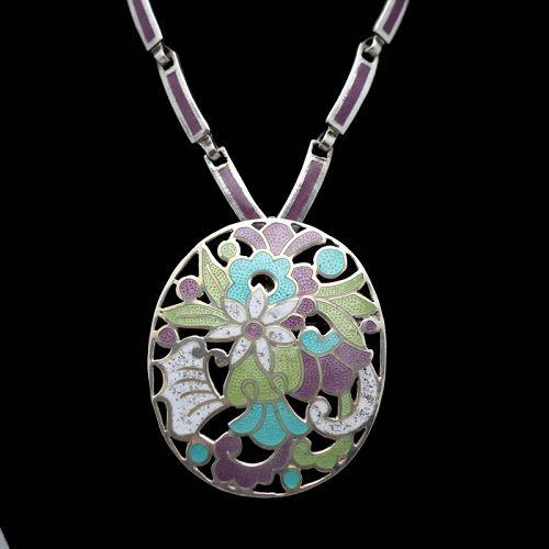"""Margot de Taxco #5860 Enamel Sterling Silver Pendant/Pin Necklace 21"""""""
